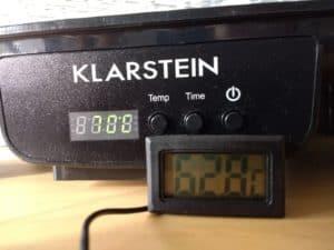 Die Temperatur auf der oberen Etage (bei 70 Grad Einstellung)