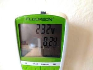 Der Stromverbrauch nach einer Stunde bei maximaler Leistung